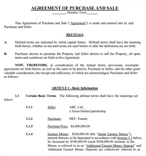 agreement of purchase and sale template sle purchase and sale agreement 12 free documents in