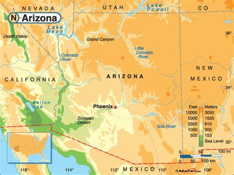 arizona elevation map arizona high elevation big mountains