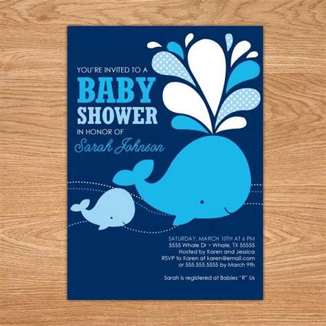 whale baby shower invitation printable baby shower invites