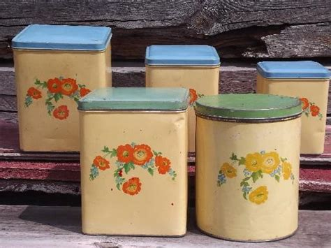 vintage metal kitchen canisters cottage kitchen vintage metal canisters set flowers w