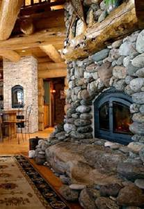 river rock fireplace house