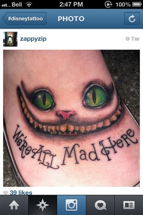 cheshire cat smile tattoo we re all mad here cheshire cat in disney