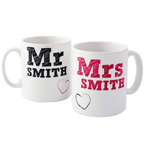 personalised mr and mrs mugs set valentine gift wedding