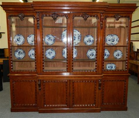Dining Room China Hutch by Large Mahogany Breakfront Bookcase Antiques Atlas