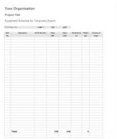 Tool List Template Download Equipment List Template For Ata Carnet In Depth