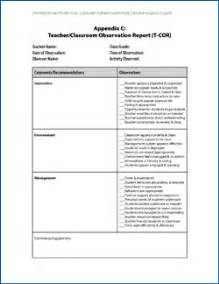 Teacher Observation Report Template Downloadable Resources