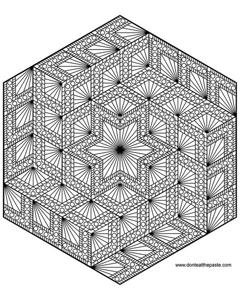 coloring pages geometric hexagon geometric mandala to color also available