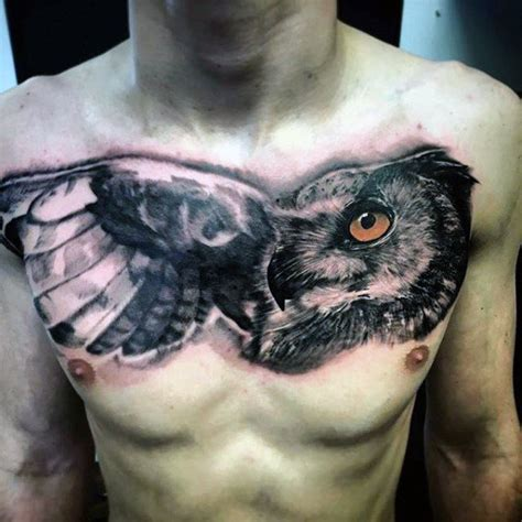 owl tattoo breast 70 owl chest tattoo designs for men nocturnal ink ideas