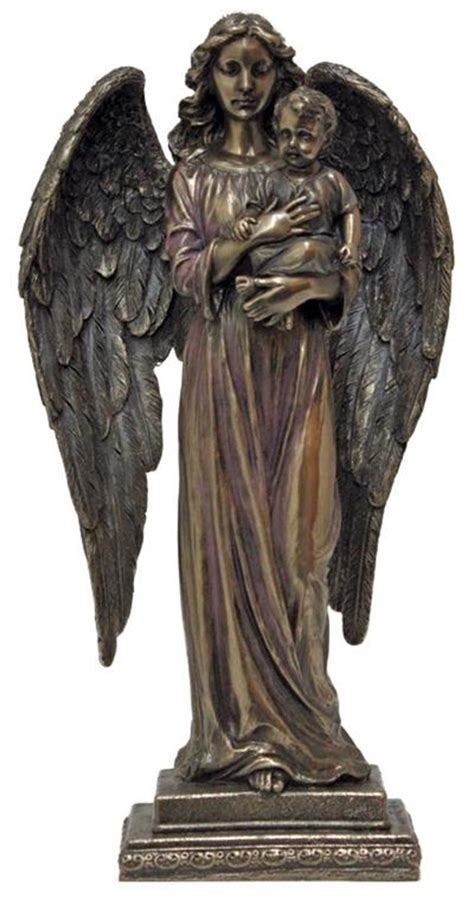 "10.25"" Angel with Child Bronzed Resin Statue, # 65021"