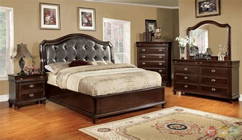 espresso bedroom sets arden transitional espresso bedroom set with leatherette headboard cm7065