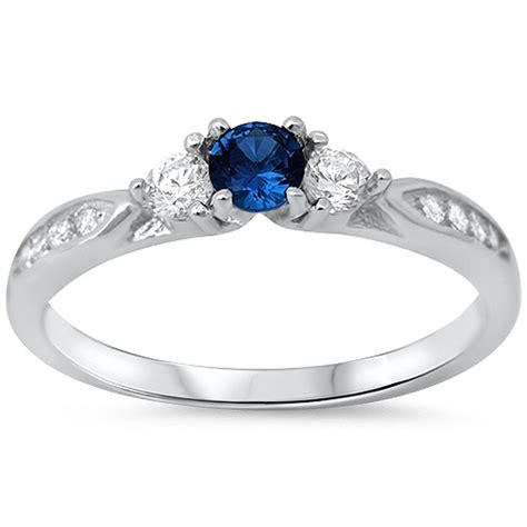 blue sapphire cubic zirconia promise 925 sterling