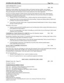 Insurance Resume Exle by Insurance Claims Representative