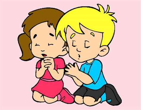 imagenes niños rezando dibujo de ni 241 os rezando pintado por natimar en dibujos net