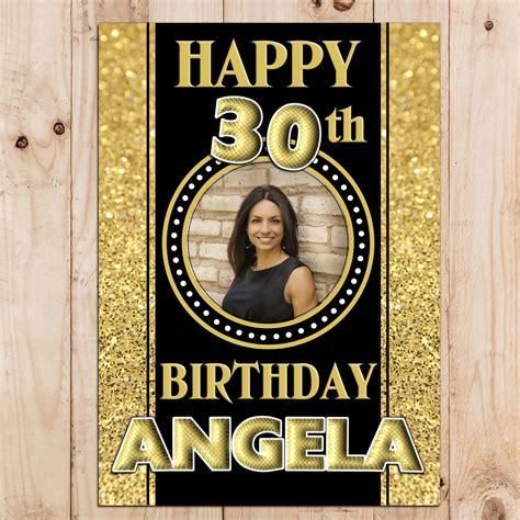 design poster happy birthday personalised black gold sparkle happy birthday photo