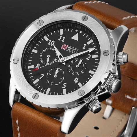 Jam Tangan Pria Swiss Army Date On Leather 3 royale mechanical automatic brown leather retro army 5056061334399 ebay