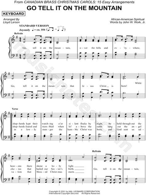 printable lyrics go tell it on the mountain canadian brass quot go tell it on the mountain keyboard