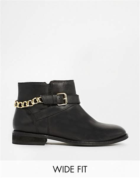 asos asos as as gold wide fit leather ankle boots