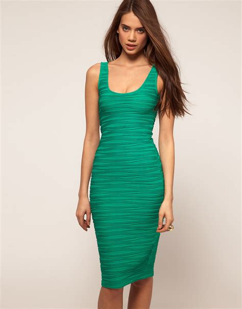 Qireya Texture Bodycon Midi Dress asos collection textured midi bodycon dress with scoop back in green lyst