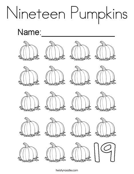 coloring page number 19 nineteen pumpkins coloring page twisty noodle