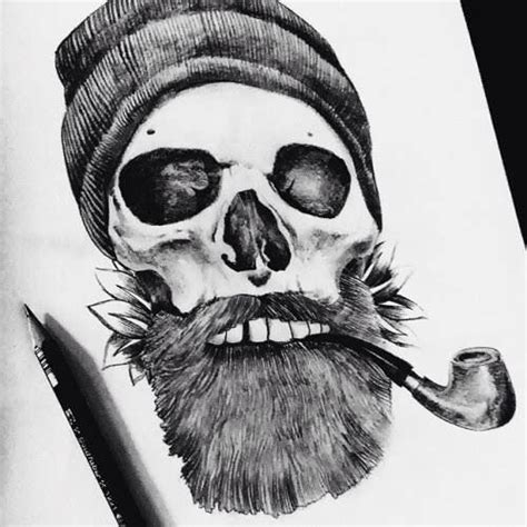 bearded skull tattoo awesome bearded skull design