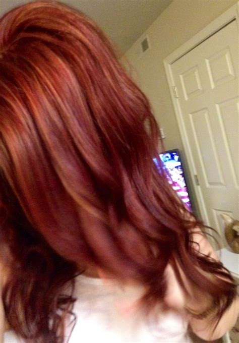 mahogany red hair with high lights mahogany red with copper red and blonde highlights my