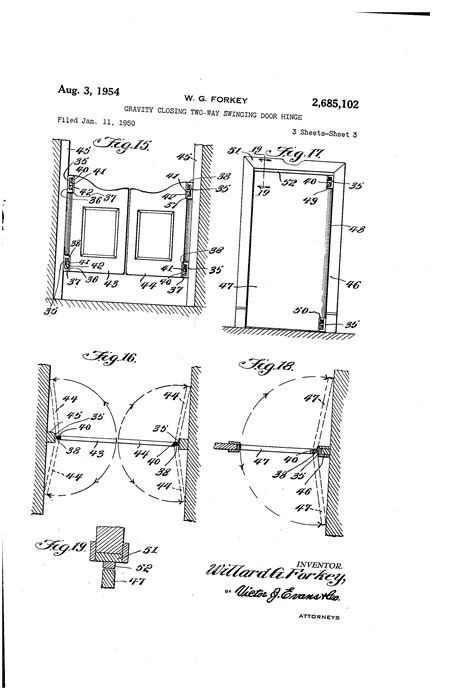 two way swing door patent us2685102 gravity closing two way swinging door