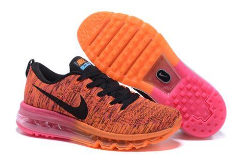 nike air max flyknit orange pink black running shoes