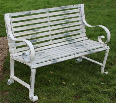 white metal garden bench white metal garden bench garden landscaping pinterest