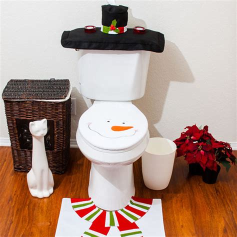 snowman bathroom set christmas decorations happy santa toilet seat cover rug