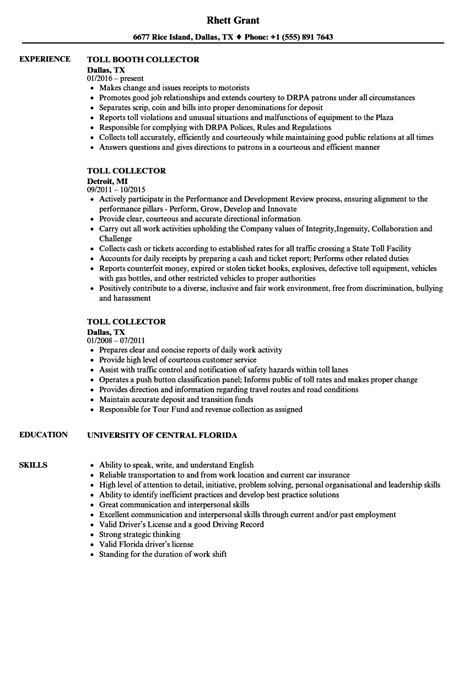 Toll Collector Sle Resume by Toll Collector Resume Sles Velvet
