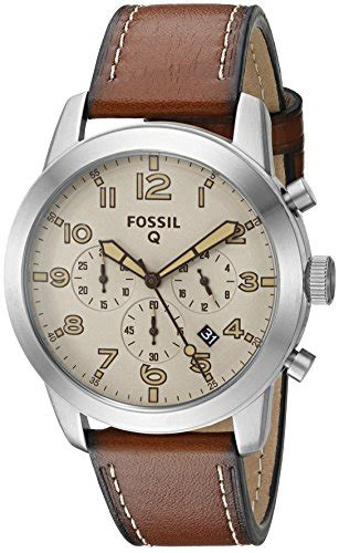Fossil Qmarshall Brown fossil q pilot brown leather hybrid smartwatch