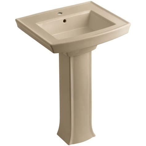 Home Depot Bathroom Sink by Kohler Archer Vitreous China Pedestal Combo Bathroom Sink In Mexican Sand With Overflow Drain K