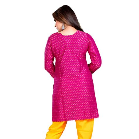 Embellish Bottom Studs Sling Bag buy pink and yellow color embelleshes cotton kurtis