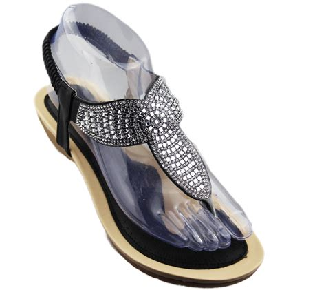 sole sandals womens low wedge toe post sandals diamante summer