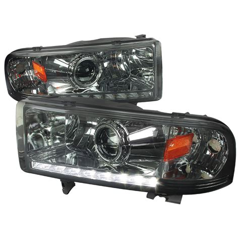 smoked dodge ram headlights 94 01 dodge ram 1500 2500 3500 retrofit style led drl
