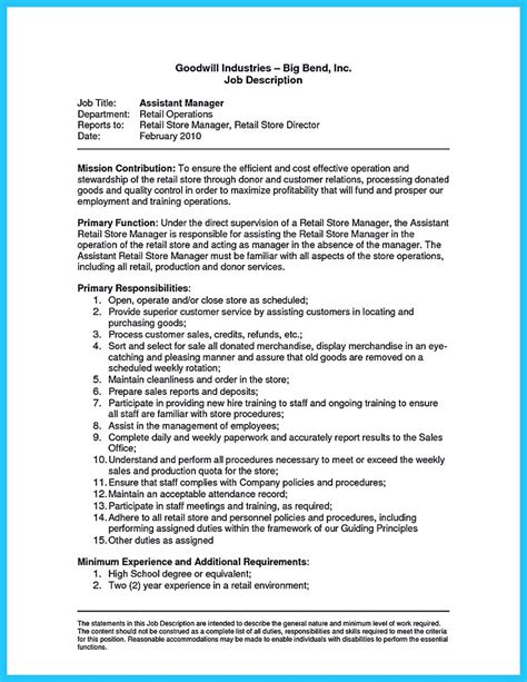 very attractive retail district manager job description resume
