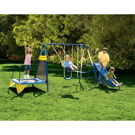 swing sets kmart sportspower jump n swing swing set toys games