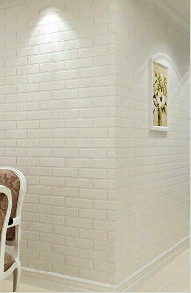 jual wallpaper motif batu bata putih timbul  lapak efron