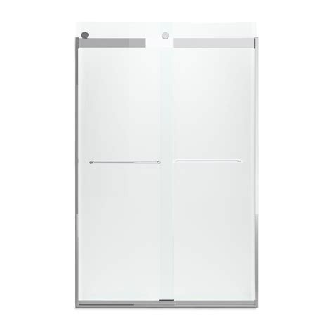 Kohler Frameless Sliding Shower Doors Kohler Levity 47 5 8 In X 74 In Semi Frameless Sliding Shower Door In Bright Silver With Towel