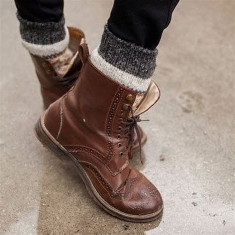 shoes motives brown leather boots combat boots
