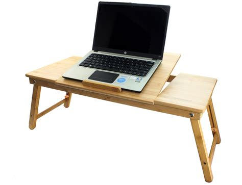 Aleratec Bamboo Adjustable Laptop Stand Up To 15in Tablet Stand Up Laptop Desk