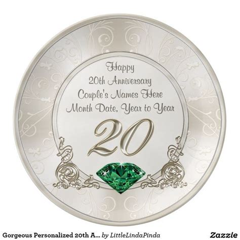 20th anniversary color gorgeous personalized 20th anniversary gifts plate