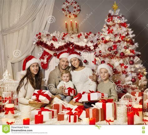 christmas family portrait holiday xmas tree presents