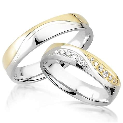 Preiswerte Verlobungsringe by Viennajewelry Eheringe Titan Zirkonia Silber Gold