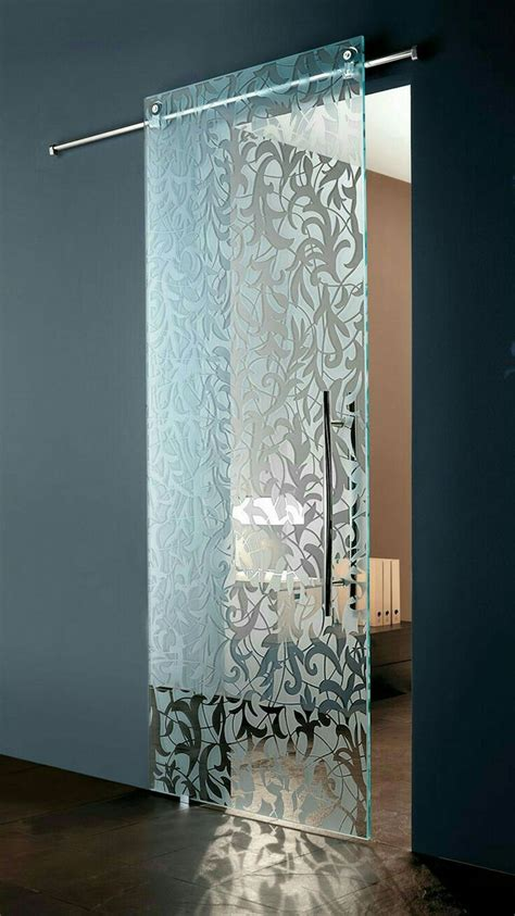 modern italian sliding etched glass door  european
