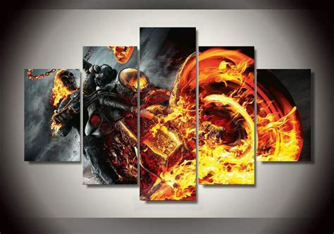 36 pieces of ghost rider 5 pieces canvas prints ghost rider painting wall art home decor panels poster pictures for