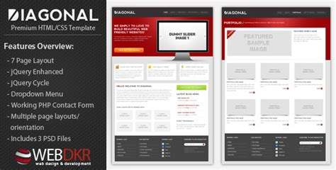 themeforest html css templates diagonal premium html css template by kevinsturf