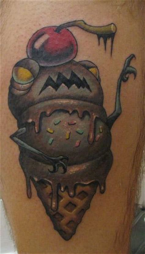 new school ice cream tattoo evil ice cream cone by scott olive tattoonow