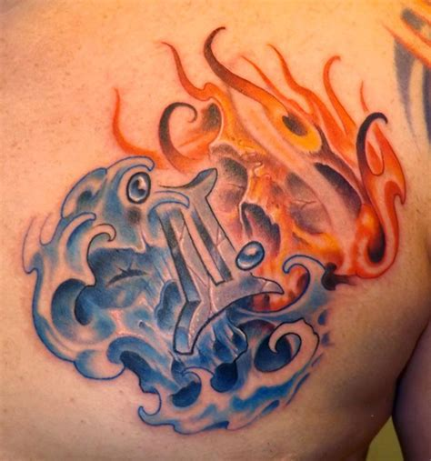 fire and water tattoo 15 best gemini designs with meanings styles at