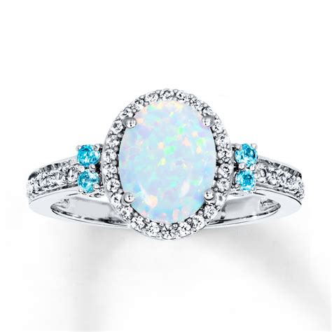 Opel Rings by Lab Created Opal Sapphire Ring With Topaz Sterling